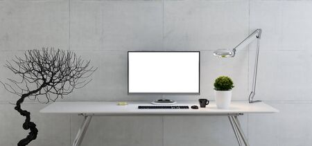 Computer monitor on office table with plant, desk lamp, coffee cup and concrete wall realistic 3D rendering