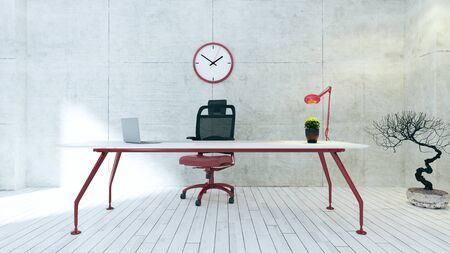 Workspace red table with seat, plant, desk light, red watch and white wooden floor realistic 3D rendering Reklamní fotografie