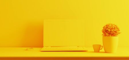 laptop screen on desk with plant, coffee cup and wall yellow single color realistic 3D rendering