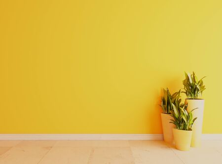 Yellow wall with white ceramic floor surface, yellow vase and plants under sun light effect realistic 3D rendering