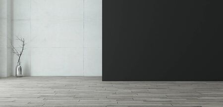 empty room with black painted wall and concrete wall with wooden floor and sunlight realistic 3D rendering