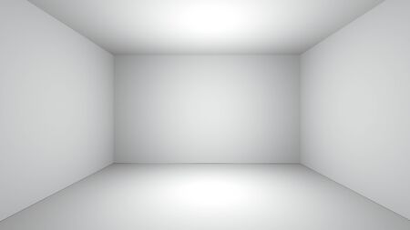 white clean empty room space realistic 3D rendering