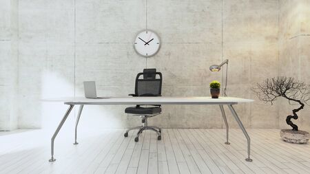 Workspace white table with seat, plant, desk light, watch and white wooden floor realistic 3D rendering