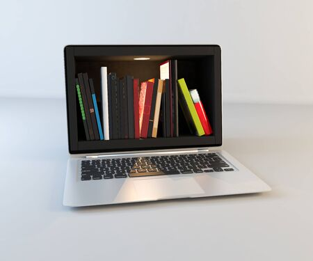Bookshelf in laptop screen, online education and search realistic 3D rendering