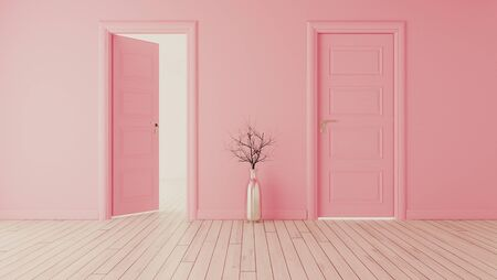 Pink wall with pink opened door and closed door, white wooden floor, chrome vase and dry plant realistic 3D rendering Zdjęcie Seryjne