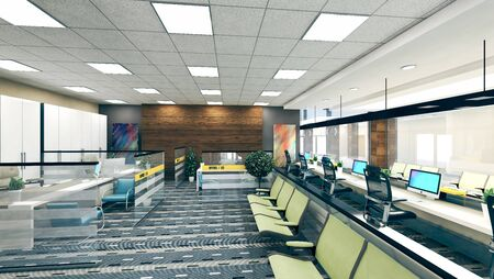 large open space office perspective realistic 3D rendering