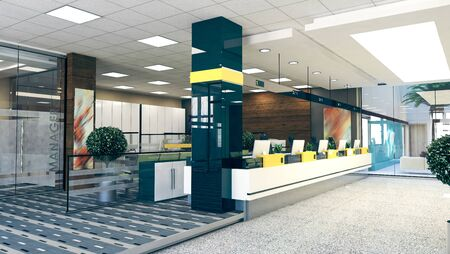 Customer stand with digital counter in large open space office perspective realistic 3D rendering