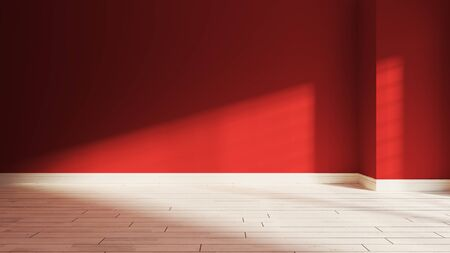 painted red wall in empty room with white wooden parquet floor and sunlight from window on the wall realistic 3D rendering