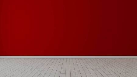 Empty room with red painted wall and white wooden floor realistic 3D rendering Zdjęcie Seryjne