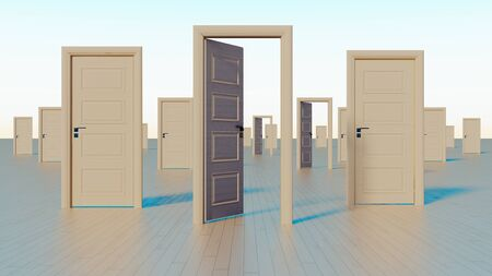close and open doors to the world of opportunities realistic 3D rendering