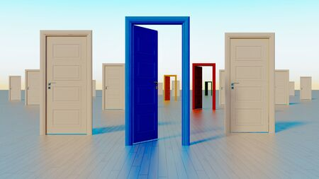 colorful white, blue, red, yellow, green close and open doors to the world of opportunities realistic 3D rendering Zdjęcie Seryjne