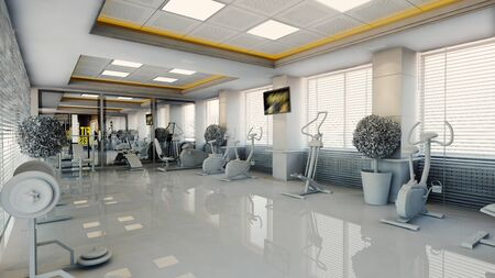 modern gym with sport equipment interior design realistic 3D rendering