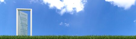 open white wooden door opening to freedom in green grass with flowers and blue sky realistic 3D rendering