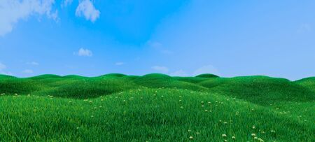 Green grass and flowers on hills and blue sky with clouds realistic baclground 3D rendering Zdjęcie Seryjne
