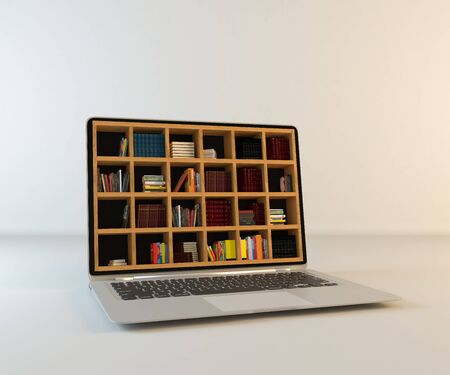 Library in laptop screen, online library realistic 3D rendering