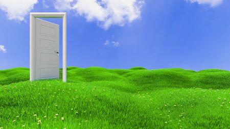 open white wooden door on green flowery hills realistic background 3D rendering Reklamní fotografie