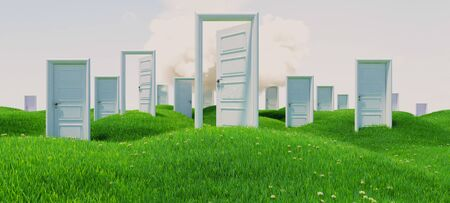 open and closed white wooden doors on green flowery hills under cloud realistic background 3D rendering Zdjęcie Seryjne