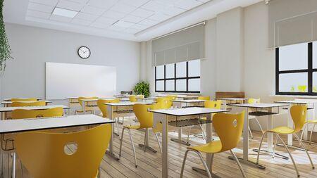Classroom design with modern desks, yellow seats,  watch  3D rendering