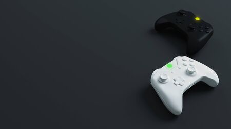 White and black joystick with dark background. Game competition. 3D rendering
