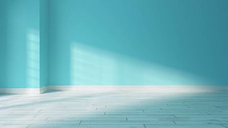 painted light blue wall in empty room with wooden white parquet floor and sunlight from window on the wall realistic 3D rendering Zdjęcie Seryjne