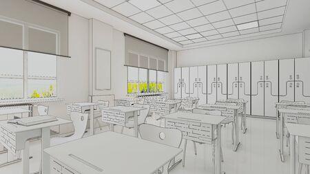 Classroom design with modern desks, seats and wardrobe draw Zdjęcie Seryjne