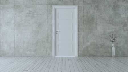 white wooden closed door in empty room with concrete wall and white wooden parquet floor realistic 3D rendering  Zdjęcie Seryjne