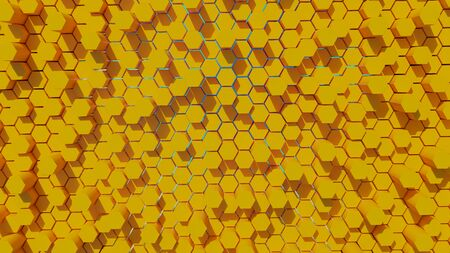 Futuristic and game hexagonal yellow abstract background with green and blue gradient effect back light 3D rendering