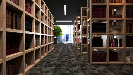 Modern library design with wooden bookcases with carpet 3D rendering