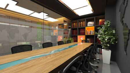 Modern meeting room in office with acrylic wooden table and book shelf realistic interior design idea 3D rendering