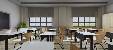 Classroom design with modern desks, seats, blackboard, watch and door side view 3D rendering