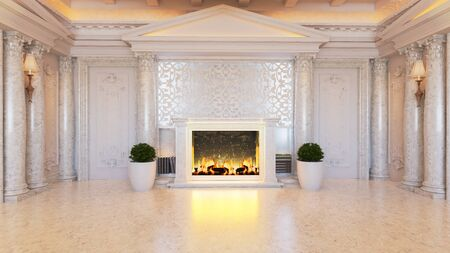 White baroque and classic interior design idea with fireplace and plant, white marble floor and column realistic 3D rendering 免版税图像