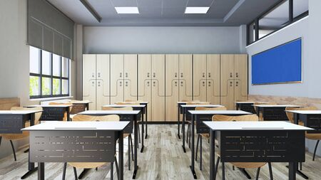 Classroom design with modern desks, seats, school locker and school board realistic