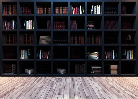 Modern library design, black bookshelf with wooden parquet realistic 3D rendering