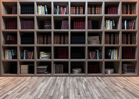 Modern library design, wooden bookshelf with wooden parquet realistic 3D rendering 免版税图像
