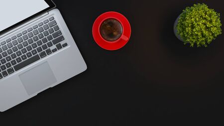Laptop and red cup and small plant on black desk background 3D rendering 免版税图像
