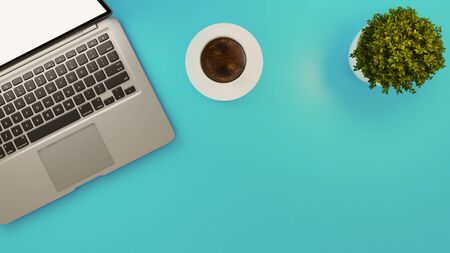 Laptop and white coffee cup and small plant on light blue desk background 3D rendering