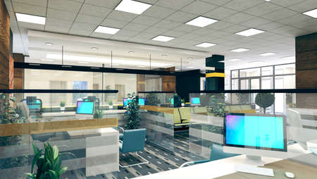Large open space office perspective interior design realistic 3D rendering Zdjęcie Seryjne