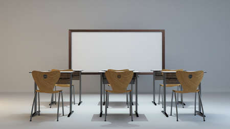 empty modern classroom concept with wooden desk, chair and white board background 3D rendering Zdjęcie Seryjne