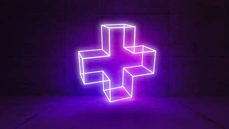 Plus sign concept illuminated by led neon light in concrete wall and floor room 3D rendering Zdjęcie Seryjne