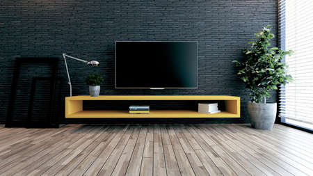 Minimalist design tv space for modern office or homes. Thought design idea with black brick wall, photo frames, table lamp and plant 3D rendering
