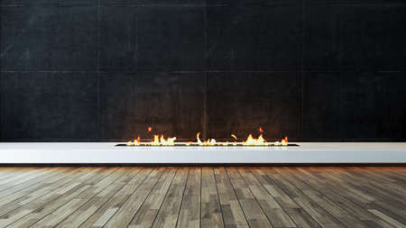 Modern fireplace design idea with dark concrete wall and wood parquet veneer flooring for home and office place. 3D rendering