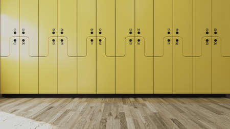 Yellow wooden numbered Student locker in modern empty classroom concept 3D rendering. Zdjęcie Seryjne