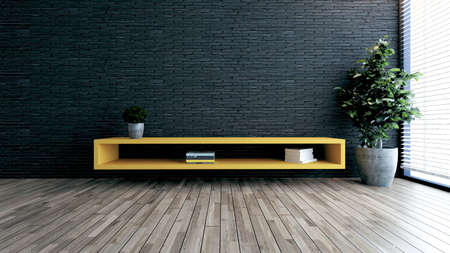 Minimalist design tv space for modern office or homes. Thought design idea with black brick wall, small plant 3D rendering