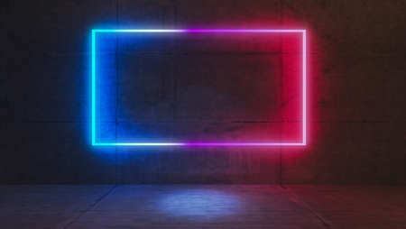 concrete wall and floor product platform and blue and red light neon rectangle on concrete wall 3D rendering