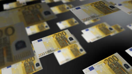 european currency euro banknotes flying regularly in the air financial economy background concept 3D rendering