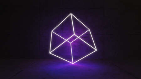 Cube wireframe concept illuminated by led neon light in concrete wall and floor room 3D rendering Reklamní fotografie