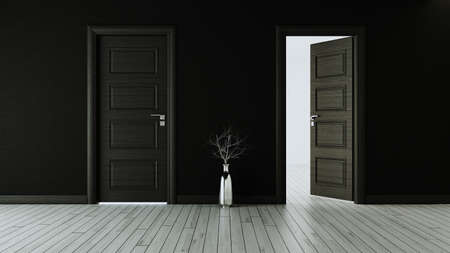 Black wall with black opened door and closed door, white wooden floor, chrome vase and dry plant realistic 3D rendering