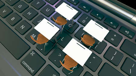 Digital classroom concept for online education. modern classroom desks on the laptops black keyboard. 3D rendering