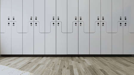 White wooden numbered Student locker in modern empty classroom concept 3D rendering.