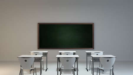 empty modern classroom concept with white desk, chair and green blackboard background 3D rendering Reklamní fotografie